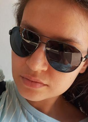 Стильные чёрные очки капли авиаторы поляризация atmosfera polarized дужки на флексах из алюминия