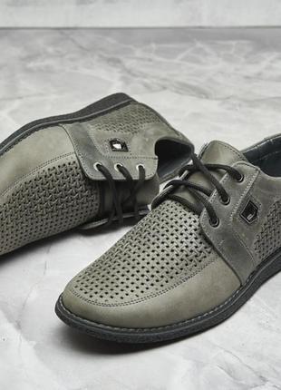 Летние мужские кожаные туфли, 40-45 р, коричневые, серые, синие, черные