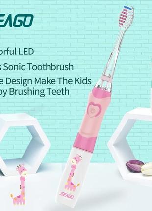 Детская ультразвуковая зубная щетка розовая