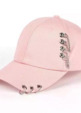 Тренд хлопковая бейсболка розовая цепи стимпанк кепка кеппи блайзер хлопок