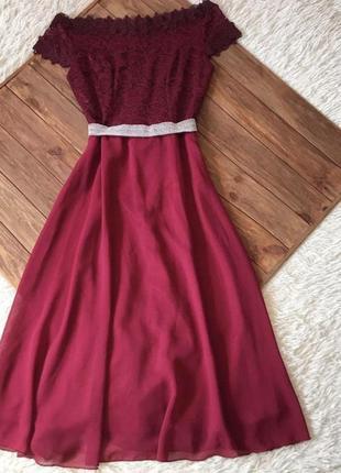 Надзвичайно красиве плаття з дорогого гіпюру та шифону❤️ бордо
