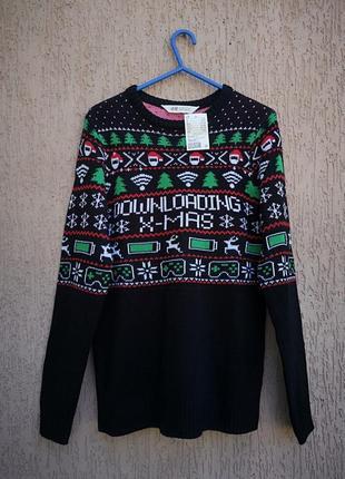 Новый свитер новогодний светр новорічний 12-14 лет h&m