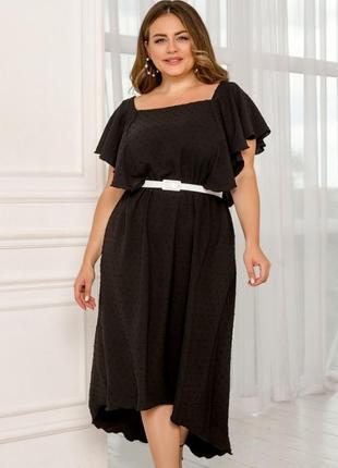 Элегантное платье миди батал с хвостом + бесплатная доставка🌿