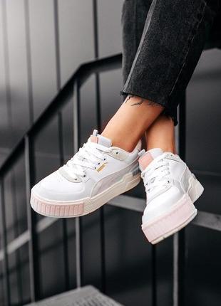 "Puma cali sport mix ""white-marshmallow"" женские зефирные кроссовки кеды белые серые розовые жіночі кросівки пума білі сірі рожеві тренд"