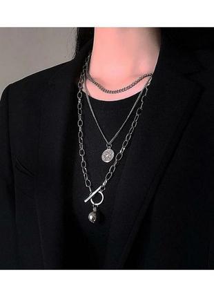 🔗набор цепей цепь на шею многослойная цепь на шею чoкер подвеска на шею