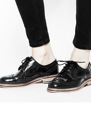 Туфли оксфорды лаковые кожаные новые броги оксфорды слипоны  ботинки класические 37