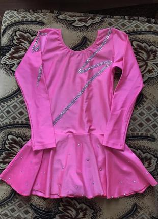 Костюм, розовый комбинезон, купальник для спортивной / художественной гимнастики, акробатики