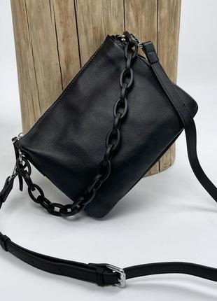 Женская кожаная сумка на через плечо с цепочкой polina & eiterou чёрная жіноча шкіряна чорна