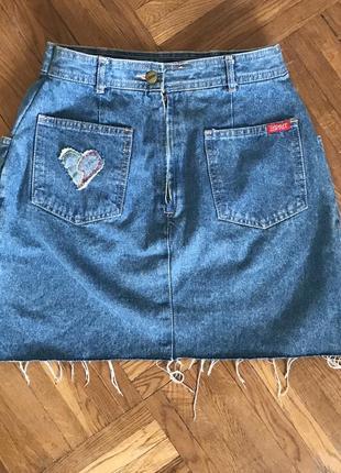 Джинсовая мини юбка на высокой талии посадке