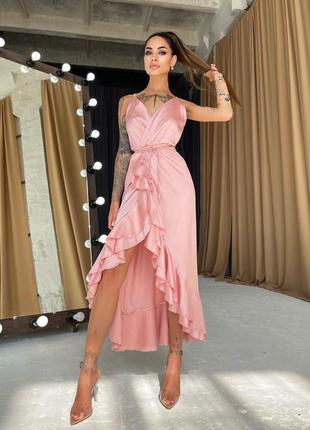 Шелковое платье-миди с оборками