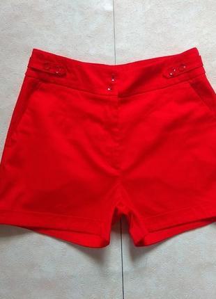 Стильные красные шорты c высокой талией h&m , 12 размер.