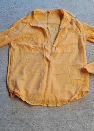 Рубашка новая желтая oodji