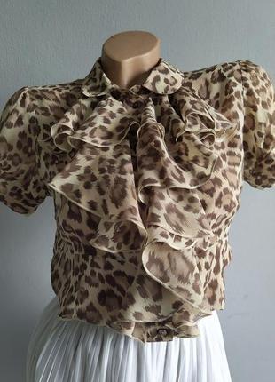 100% натуральный шелк, блуза с жабо.