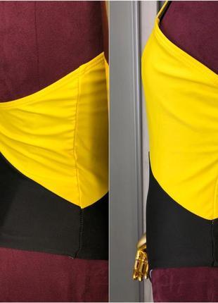 Яркий желтый секси цельный слитный купальник монокини бикини купальник сетка 20219 фото