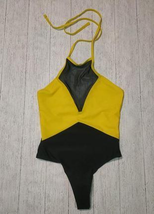Яркий желтый секси цельный слитный купальник монокини бикини купальник сетка 20217 фото