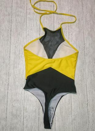 Яркий желтый секси цельный слитный купальник монокини бикини купальник сетка 20218 фото