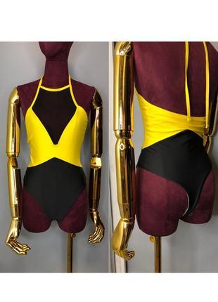 Яркий желтый секси цельный слитный купальник монокини бикини купальник сетка 20211 фото