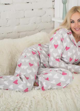 Теплая байковая пижама