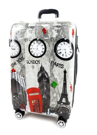 Большой чемодан london paris new york на колесах, с 3d эффектом 90 л, bagia
