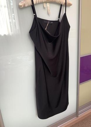 Комбинация чёрная, атласное вечернее платье