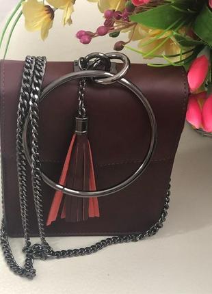 Итальянская сумочка клатч из натуральной кожи бордовая на цепочке італійська шкіряна сумка