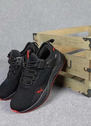 Женские кроссовки puma ignite черные,сетка,летние