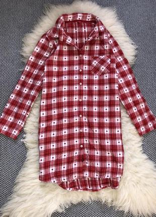 Клетчатая туника ночнушка рубашка для сна клетка хлопок длинная платье