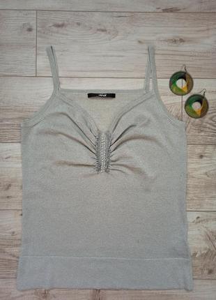 Шелковая итальянкая базовая женская майка, футболка.