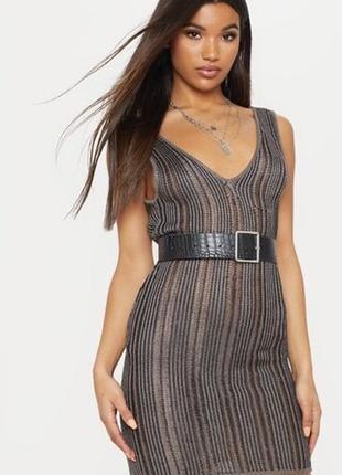 Модное платье вязаное prettylittlething вечернее сетка
