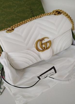 Кожаная сумка в стиле гуччи gucci - gg marmont ⠀