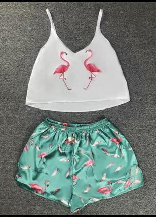 Пижама атласная с фламинго  легкая