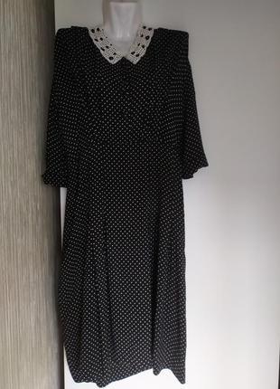 Платье 👗 в мелкий цветочек с вязаным воротничком ,hand made