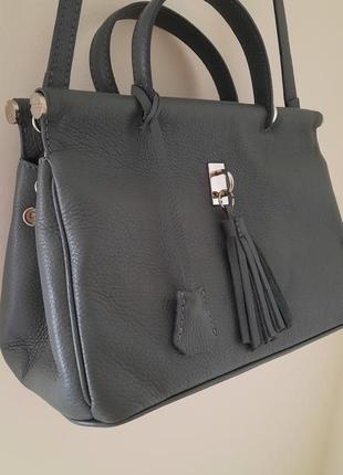 Кожаная сумка италия vera pelle кожа натуральная  genuine leather натуральна шкіра в стиле гермес саквояж