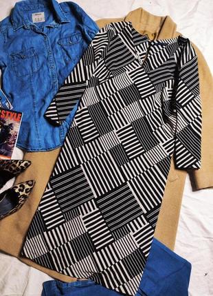 Маркс спенсер платье чёрное белое серое полосатое миди прямое трапеция классическое