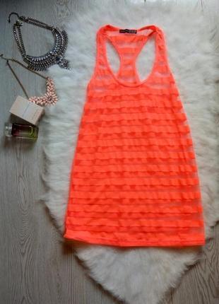 Яркая оранжевая неон майка с прозрачными вставками розовая шифон блуза на бретелях