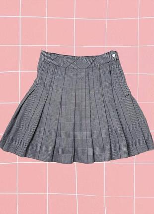 Стильная клетчатая плиссированная теннисная юбка в складку (soft girl стиль)