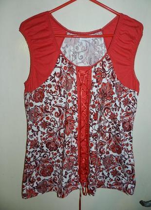 Очаровательная,натуральная,трикотажная блузка,бохо,большого размера,сост.новой,c&a