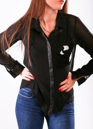 Чёрная блуза с паетками
