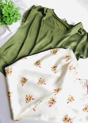 Роскошная сборная женственная элитная шелковая эксклюзивная пижама домашний костюм🌹