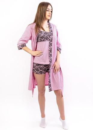 Комплект пижама майка и шорты, халат