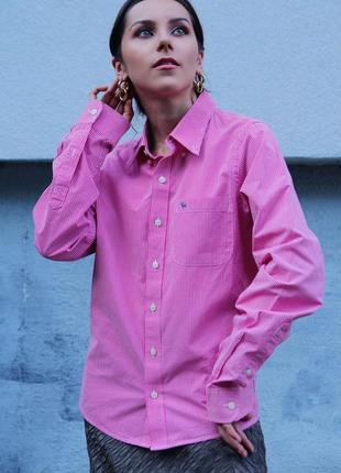 Брендовая классическая хлопковая яркая рубашка блузка блуза в клетку