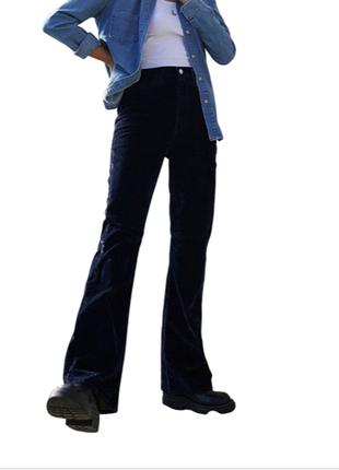 Levis вельветовые джинсы клеш от колена штаны широкие
