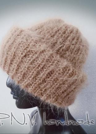 Теплая шапка мохер карамель