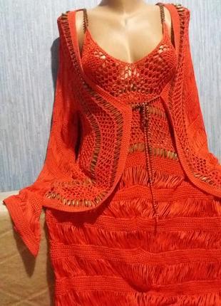 Шикарный пляжный костюм (платье+накидка)