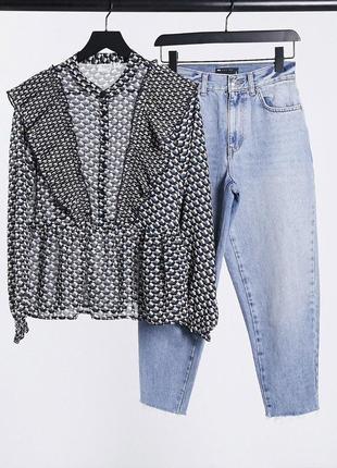 Стильная рубашка блузка блуза с оборками рюшами баской asos jdy