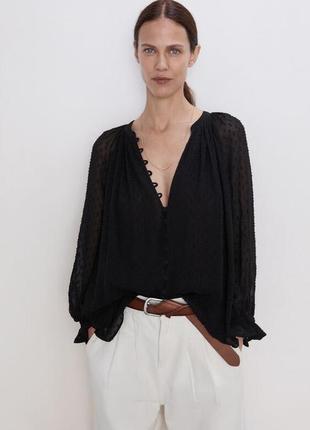 "Блуза из фактурного шифона и объемными рукавами ""zara"""
