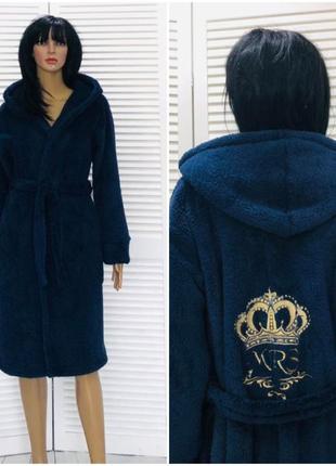 Женский теплый махровый халат с капюшоном на запах