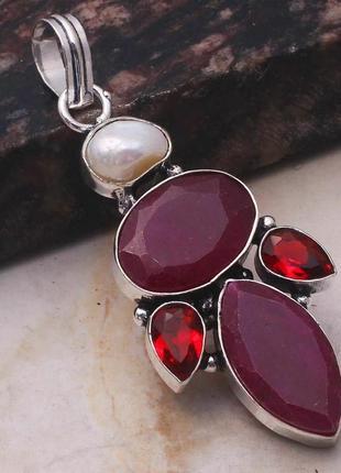 Индия, кулон - подвеска с рубинами, рубиновыми кварцами и жемчугом