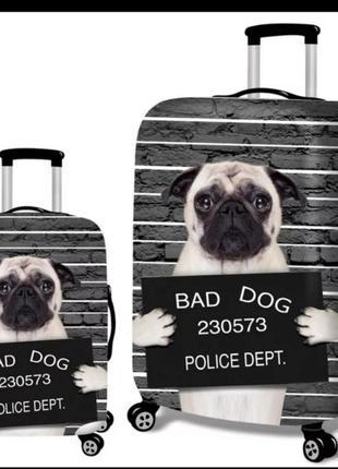 Чехол для багажа ,чемодана   ,защитный с мопсом.не чемодан!
