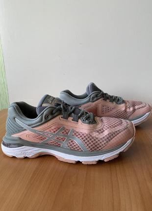 Кроссовки беговые asics, оригинал, размер 39, спортивные, летние, женские, легкие, розовые, серые, сетка